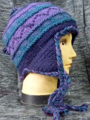 Earflap hat in blues and purples
